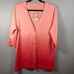 IsaacMizrahi Live pink ombré 3/4 sleeve cardigan L